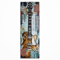 Gitarre Gemälde Geschenk für Musiker texturierte Brick Wall