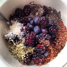 Superfood oatmeal. It has shredded coconut, flaxseeds, blueberries, blackberries, chia seeds, hemp seeds,  added with some unsweetened cocao powder! This has tons of antioxidants and it tastes so good :)