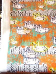 #green #white #gold #swan #fabric #giveaway Textile Design, Swan, Giveaway, Upcycle, Indie, White Gold, Textiles, Retro, Green