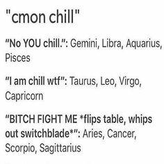 12 Zodiac Signs c'mon chill. Cancer ♋ Zodiac Sign