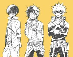 Shouto, Izuku, Katsuki, cool, heroes, suits, outfits, uniforms; My Hero Academia