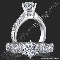 #PaveDiamondSolitaireRing  #TiffanyStylePaveDiamondRing #6ProngTiffanyStyleDiamondRing http://www.BloomingBeautyRing.com