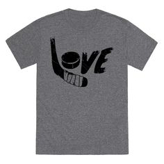 """There's no love like the love for hockey. Show off your passion for ice with this rad tee with the word """"Love"""" written with a hockey stick & Hockey puck."""