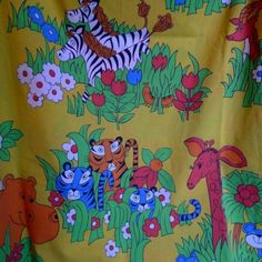 Cannon-Monticello-Twin-Sheet-Set-Kids-Funky-Mod-Jungle-Zoo-Pattern-1960s-Rare