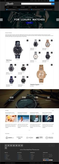 Jumbo is clean, stylish and modern design responsive #Magento template for trendy #watches store eCommerce #website with 18+ niche homepage layouts to live preview & download click on Visit 👆