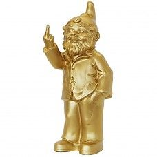 Non-Conformist Gnome by famous artist Ottmar Hörl. The swearing gnome is also known as Sponti (Activist) and is an unconventional piece of art that will raise a lively reaction. Buy at Lime Lace. Joe Colombo, Belgium Europe, Sculptures, Lion Sculpture, Outdoor Toys, Gnome Garden, Shades Of Yellow, Love Design, Famous Artists