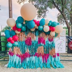 """Laughing Goat Design on Instagram: """"✨More fun from Cattle Baron's Ball! Who doesn't love a colorful backdrop to take pictures?✨ Our streamer backdrop is available for rent, DM…"""" Balloon Garland, Balloon Decorations, Birthday Party Decorations, Baby Shower Decorations, Party Themes, Birthday Parties, Party Ideas, Balloon Columns, Themed Parties"""