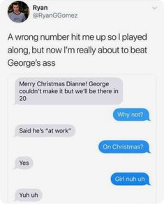 Funny Wrong Number Text About About Christmas vs. Work - Funny Text - - Funny Wrong Number Text About About Christmas vs. Work The post Funny Wrong Number Text About About Christmas vs. Work appeared first on Gag Dad. Funny Shit, Stupid Funny Memes, Funny Fails, Funny Posts, Funny Quotes, Funny Stuff, Funny Drunk, 9gag Funny, Random Stuff