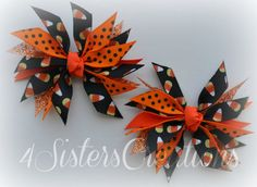 Mini Spikey Bow Set For Halloween Black Candy Corn and Orange Glitter Ribbon