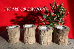 Bougeoirs en bois flotté 100% par HOME CREATION  Décoartion table de fête Noël , Mariage etc... http://www.alittlemarket.com/boutique/home_creation-1828923.html