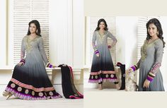 Scintillating Black & Pale Ash Gray Salwar Kameez   StylishKart.com