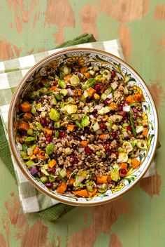 Italian Food Forever » New Year's Lentil & Farro Salad With Roasted Sweet Potato & Brussels Sprouts