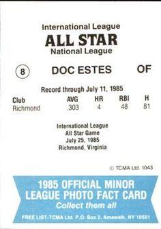1985 TCMA International League All-Stars #8 Doc Estes Back