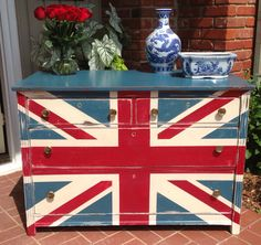 Painted Dresser Union Jack Red White Blue Available By CUSTOM ORDER
