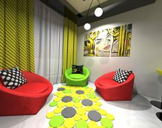 elegance living room with pop art style interior idea as well pendant lamps in ceiling including colorful circle pattern rug on floor featuring green red chair and white yellow curtain window