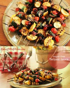 Grilled Teriyaki Kabobs with garlic and ginger and naturally brewed soy sauce, OH MY! This is a great marinade for chicken and cheaper cuts of red meat.