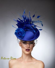 Royal Blue Fascinator cocktail hat Headpiece Royal by ArturoRios, $230.00