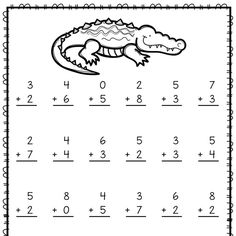 If your students need to practice addition and subtraction facts, here are 21 worksheets with answer keys. These practice sheets are great for homework, independent work, morning work, or seat work. Zoo animal clip art added to each page. Addition And Subtraction Practice, Addition Worksheets, Math Addition, Kindergarten Math Worksheets, Kindergarten Lessons, Math Lessons, English Worksheets For Kids, Preschool Writing, Math For Kids
