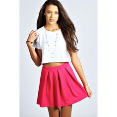 Boohoo Basics Tianna Box Pleat Colour Pop Skater Skirt ($9) ❤ liked on Polyvore featuring skirts, pink, pink skirt, high-waisted skirts, stretch skirt, pink skater skirt and high waisted flared skirt