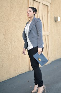 Slate gray jacket, black skinny jeans, Sam Edelman 'Lorissa' Pumps