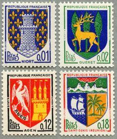 La série des timbres aux armoiries des villes. / France, 1964.