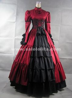 Long Sleeves Stand Collar Bow Satin Gothic Victorian Dresses