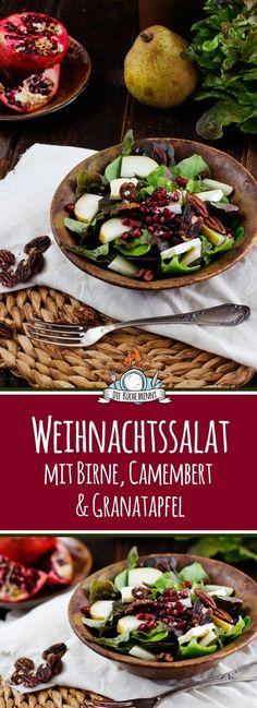 Winter Salat mit Birne, Granatapfel und Camembert Christmas salad with pear, pomegranate & camembert Winter Soulfood: Winter salad with pomegranate and RWinter salad with pomegranate seedsWinter salad with beets, orange and pomegranate Easy Smoothie Recipes, Easy Smoothies, Healthy Salad Recipes, Healthy Snacks, Snacks Recipes, Grenade, Winter Food, Food Inspiration, Food Porn