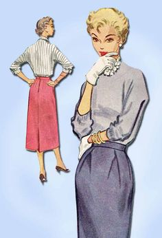 1950s Vintage McCalls Sewing Pattern 9516 Easy Misses One Piece Skirt Size 24 W