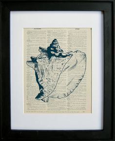Sea Shell printed on a page from an antique by LePapierGallery, $7.99