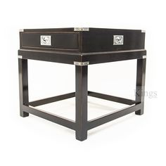 REH Kennedy Military Campaign Lamp Table. Solid Cherry Wood. Black And  Chrome Finish Www