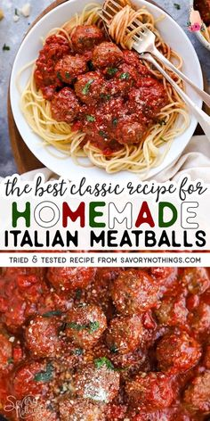 Easy Italian Meatballs are juicy homemade beef meatballs baked in a simple tomato sauce. You will not believe how quick these are to make - all from scratch! Full of healthy real food ingredients and Spagetti And Meatball Recipe, Beef Meatball Recipe, Spaghetti Recipes, Homemade Meatball Recipes, Healthy Beef Meatballs, Best Italian Meatball Recipe, Italian Spaghetti And Meatballs, Homemade Dinners, Recipes