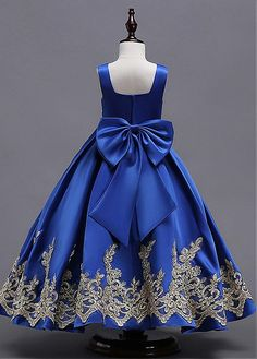 5e15fcf1735 Satin Square Neckline Floor-length A-line Flower Girl Dress With Lace  Appliques Birthday