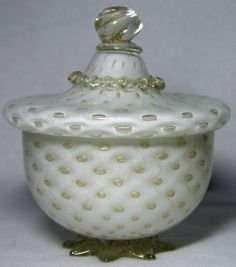 Beautiful Murano covered bowl of white cased controlled bubbles glass with gold flecks prob. by Barbini, Venice, Italy Venetian Glass, Murano Glass, Candy Dishes, Venice Italy, Milk Glass, 1950s, Bubbles, Pottery, Beads
