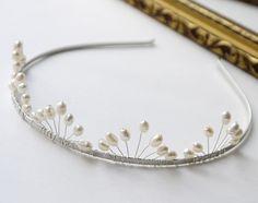 pearl wedding tiara, freshwater ivory rice pearl silver bridal tiara