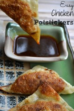 Easy Chicken Potstickers make a wonderful appetizer for parties or the perfect addition to any Asian dinner. - THANKS SHERRI! I Love Food, Good Food, Yummy Food, Tasty, Appetizers For Party, Appetizer Recipes, Party Recipes, Great Recipes, Favorite Recipes