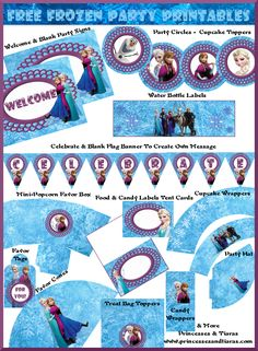 Super Huge And Cute Free Frozen Party Printables Kit | Party Ideas By @FabPartyIdeas