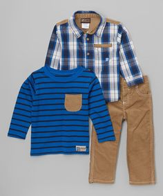 Look what I found on #zulily! Blue Plaid Button-Up Set - Boys #zulilyfinds