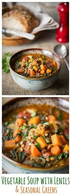 Vegetable Soup with Lentils & Seasonal Greens Vegetable Soup with Lentils & Seasonal Greens - A hearty Vegan Soup perfect for a healthy meal on cold winter days Fall Recipes, Soup Recipes, Vegetarian Recipes, Cooking Recipes, Healthy Recipes, Lentil Recipes, Lentil Meals, Lentil Dishes, Winter Vegetables