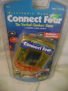 Sealed-Connect-Four-Electronic-Handheld-LCD-Game-Milton-Bradley-1995-Travel