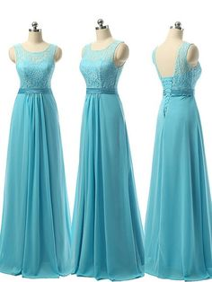 Affordable A-line Scoop Neck Chiffon with Lace Blue Long Bridesmaid Dresses - dressesofgirl.com