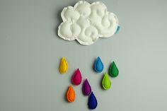 Dekoracja do pokoju dziecięcego, do powieszenia np. na ścianie. Filcowa, puszysta chmura z ozdobnymi przeszyciami, co nadaje jej przestrzennego wymiaru. Na dyskretnej lecz wytrzymałej żyłce zawieszone są tęczowe kropelki (8 sztuk). Wielkość całkowita: wysokość: 60 cm, szerokość: 33 cm. Chmurę zawiesza się na ukrytej za nią tasiemce, dzięki czemu nie widać gwoździa w ścianie.