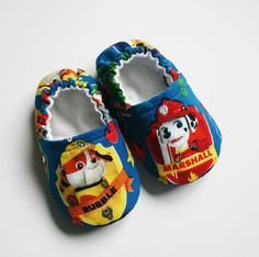 Paw Patrol baby/toddler cotton slippers. Grip tight soles for 9 months up. Made to order. by RosenLilyCreationz on Etsy