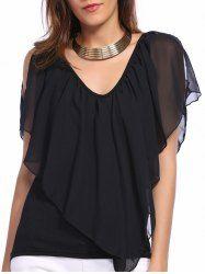 Fashionable V-Neck  Irregular Chiffon Poncho Split Sleeve Blouse  For Women www.rosegal.com/
