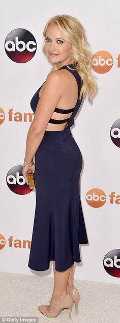 Beauty in blue: Emily Osment looked stunning in a royal blue dress with pretty strap detai...
