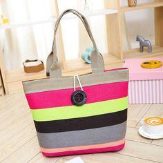 Designer Handbags High Quality Canvas Bag Striped Shoulder Bag Female Beach Bag Ladies Hand Bags bolsa de praia bolsas femininas