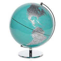 A fresh view of the world. Aquamarine World Globe, $79.95 #ZGallerie