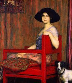 cavetocanvas: Franz von Stuck, Mary in a Red Chair, 1916