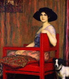 Franz von Stuck, Mary in a Red Chair, 1916