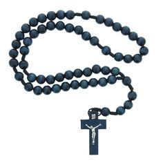 Navy blue wood rosary for a boy on his First Communion.