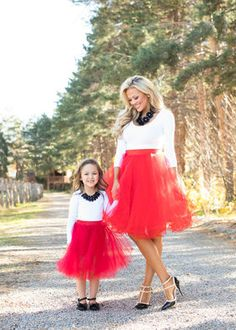 Mommy Flirty in Red Tulle Skirt
